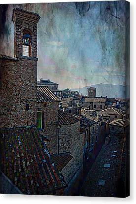 Bell Tower And Rooftops Citta Della Pieve Canvas Print