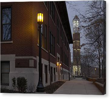 Bell Tower At Night Color Canvas Print by Coby Cooper