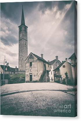 Bell Tower In Italian Village Canvas Print