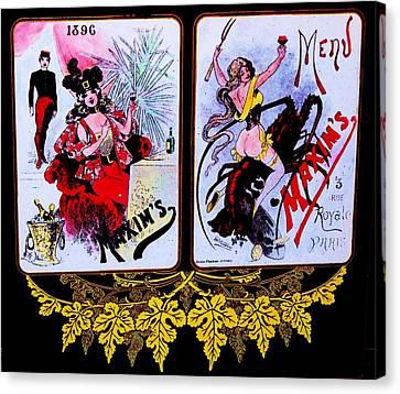 belle epoque-vintage Maxim's menu Canvas Print by Adolfo hector Penas alvarado
