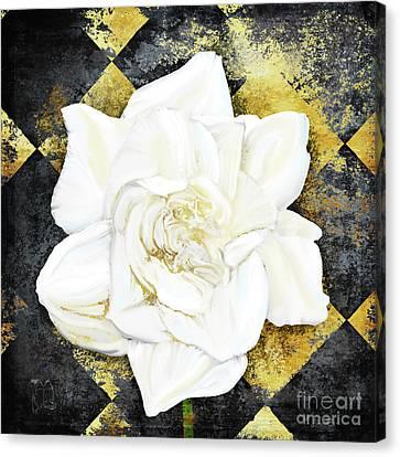 White Gardenia Canvas Print - Belle, White Gardenia Blooms Amidst French Art Deco Grunge by Tina Lavoie