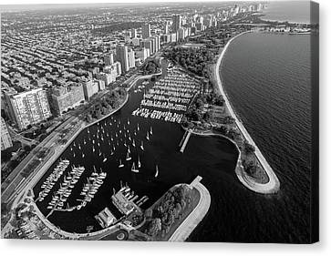 Belmont Harbor Chicago B W Canvas Print by Steve Gadomski