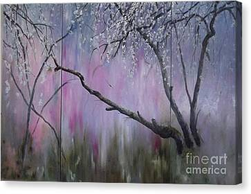 Below The Blooming Blossom Triptych Canvas Print by Lizzy Forrester