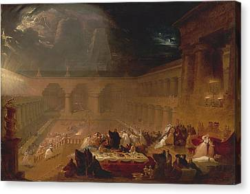 Belshazzars Feast By John Martin Canvas Print by John Martin