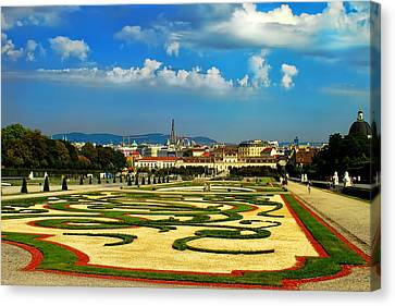 Canvas Print featuring the photograph Belvedere Palace Gardens by Mariola Bitner