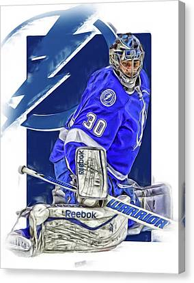 Ben Bishop Tampa Bay Lightning Oil Art Canvas Print by Joe Hamilton