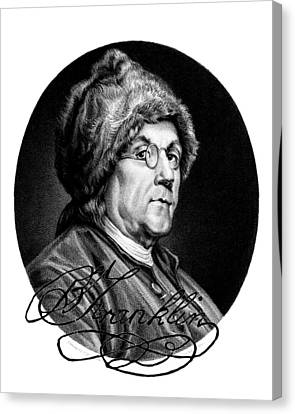 Ben Franklin Autographed Canvas Print by John Feiser
