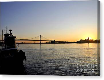 Ben Franklin Bridge At Sunrise 2 Canvas Print by Andrew Dinh