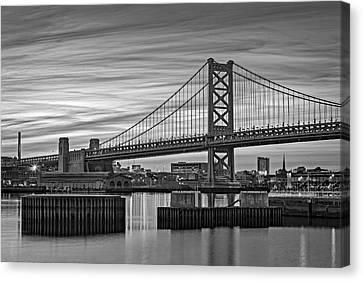 Black Canvas Print - Ben Franklin Bridge Bw by Susan Candelario