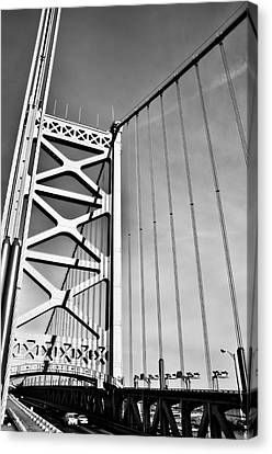 Ben Franklin Bridge Tower In Black And White Canvas Print by Bill Cannon