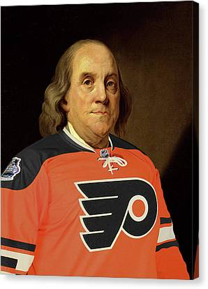 Ben Franklin In A Flyers Jersey Canvas Print