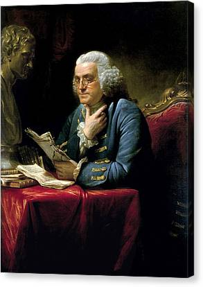 Ben Franklin Thumb Portrait 1767 Canvas Print by Daniel Hagerman