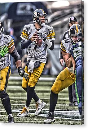 Ben Roethlisberger Pittsburgh Steelers Art Canvas Print by Joe Hamilton