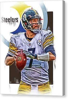 Ben Roethlisberger Pittsburgh Steelers Oil Art Canvas Print by Joe Hamilton