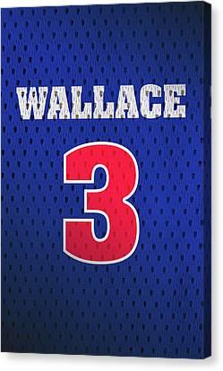 Ben Wallace Detroit Pistons Number 3 Retro Vintage Jersey Closeup Graphic Design Canvas Print by Design Turnpike