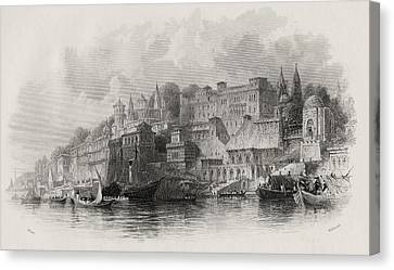 Benares India Engraved By Willmore Canvas Print by Vintage Design Pics