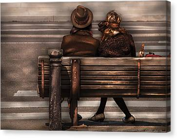 Bench - A Couple Out Of Time Canvas Print by Mike Savad