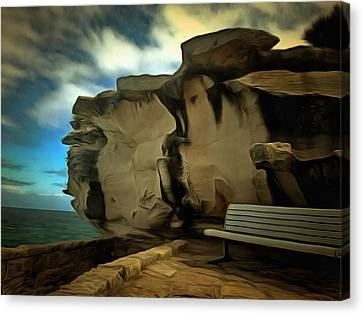 Bench And Huge Overhanging Rock Canvas Print by Ashish Agarwal