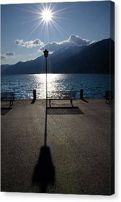 Bench And Street Lamp Canvas Print by Mats Silvan