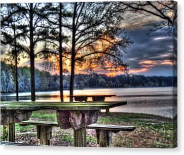 Bench By Lake Canvas Print