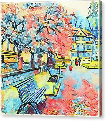 Bench In A Park Canvas Print