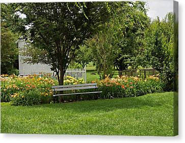 Bench In The Garden Canvas Print