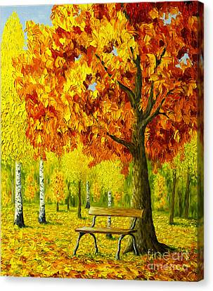 Bench Under The Maple Tree Canvas Print by Veikko Suikkanen