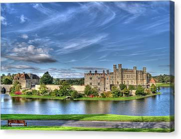 Bench View Of Leeds Castle Canvas Print