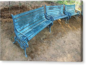 Benches And Blues Canvas Print by Prakash Ghai