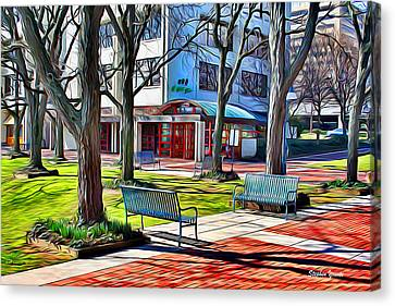 Lake Kittamaqundi Canvas Print - Benches by Stephen Younts