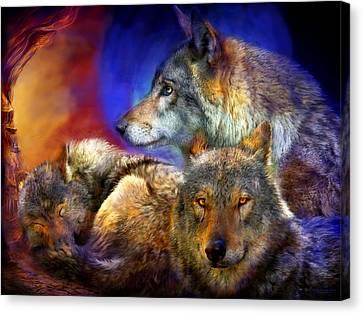 Beneath A Blue Moon Canvas Print by Carol Cavalaris