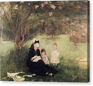 Beneath The Lilac At Maurecourt Canvas Print by Berthe Morisot