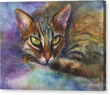 Bengal Cat Watercolor Art Painting Canvas Print by Svetlana Novikova