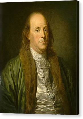 Benjamin Franklin Canvas Print by After Jean-baptiste Greuze