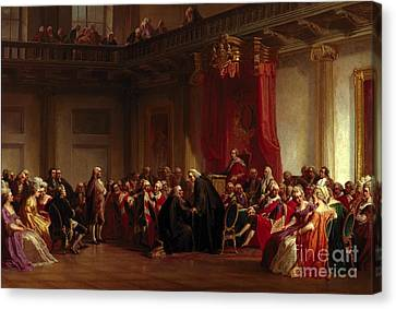 Benjamin Franklin Appearing Before The Privy Council  Canvas Print by Christian Schussele
