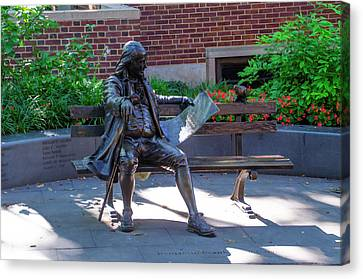 Franklin Park Canvas Print - Benjamin Franklin On A Park Bench by Bill Cannon