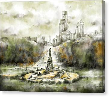 Benjamin Franklin Parkway Sepia Canvas Print
