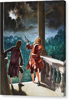 Benjamin Franklin Proves That Lightning Is Electricity Canvas Print by Peter Jackson