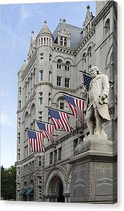 Benjamin Franklin Statue In Front Of The Old Post Office - Washington Dc Canvas Print by Brendan Reals