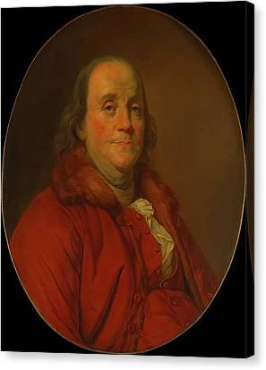 Benjamin Franklin Canvas Print by Workshop Of Joseph Duplessis