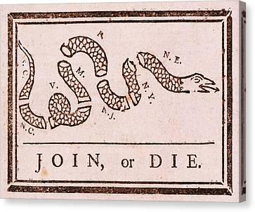 Benjamin Franklin's Join Or Die Political Cartoon Canvas Print