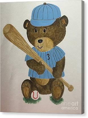 Benny Bear Baseball Canvas Print by Tamir Barkan