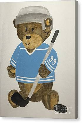 Benny Bear Hockey Canvas Print