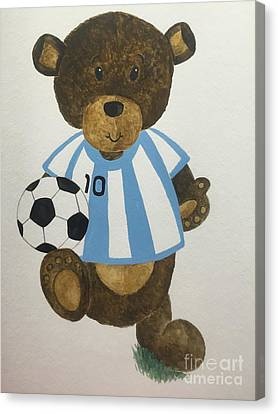 Canvas Print featuring the painting Benny Bear Soccer by Tamir Barkan