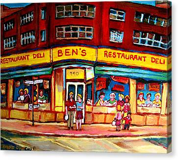 Ben's Delicatessen - Montreal Memories - Montreal Landmarks - Montreal City Scene - Paintings  Canvas Print by Carole Spandau