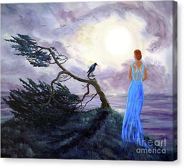 Bent Cypress And Blue Lady Canvas Print by Laura Iverson