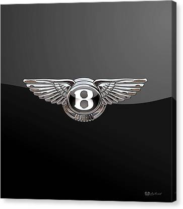 Bentley - 3d Badge On Black Canvas Print
