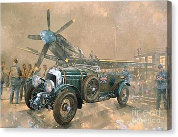 Bentley And Spitfire Canvas Print by Peter Miller