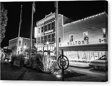 Bentonville Town Square - Black And White Canvas Print by Gregory Ballos