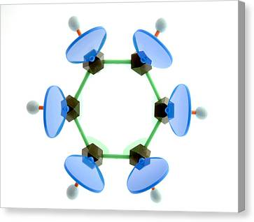 Benzene Molecule Canvas Print by Lawrence Lawry